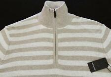 Men's REPORT Beige Striped Turtleneck Sweater  Large L  NEW NWT