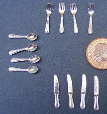 1:12 Scala 12 Pezzi Metallo Argento Set Di Posate