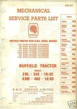 NUFFIELD TRACTOR 3DL 4DM 342 460 10/42 10/60 PARTS MANUAL