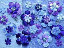 60 fabric FLOWERS Mixed sizes FFE09PLM for Scrapbooking Card making & Hair Clips