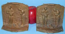 """ANTIQUE SOLID BRONZE FIGURAL"""" ANGELUS CALL TO PRAYER """" RELIGIOUS BOOKENDS"""