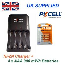 NI-ZN 4 x 1.6V AAA 900 mwh High performance Recharable Batteries & Charger Pack