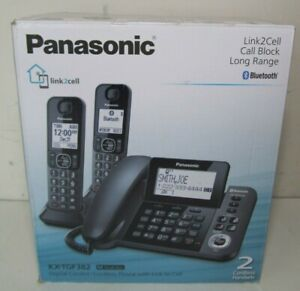 NEW Panasonic 2HS Corded/Cordless Link2Cell Bluetooth + Answer System KX-TGF382M