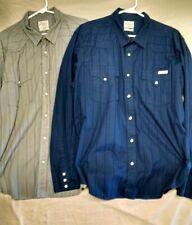 2 Lucky Brand Western style long sleeve dress shirts, Men's size XL navy & grey