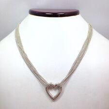 Liquid Silver Heart Multi Strand Chain Necklace 17 3/4 In Sterling Silver 925...