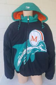 Vintage 1990's Miami Dolphins Starter Jacket Adult XL full zip hood throwback
