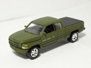 Johnny Lightning Speed 1996 Dodge Ram 1500 Pickup Truck Flat Military Army Green