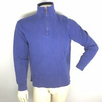 Polo Ralph Lauren Men's Pullover Sweater M Blue Cotton 1/4 Zip  Pony EUC