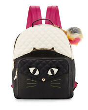 "NWT Betsey Johnson ""Kitsch Cat's Meow"" Black Multi Large Size Backpack + Pom-Pom"