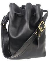 Vintage Coach Black Leather LEGACY Drawstring Bucket Shoulder Bag #9165 USA