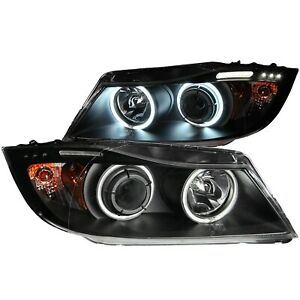 ANZO PROJECTOR HEADLIGHTS HALO w/ LED BAR BLACK for 06-08 BMW E90 / E91