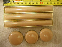 Vintage 70s retro drawer handles 3 and 3 pulls porcelain brass plated  (W3BxB)