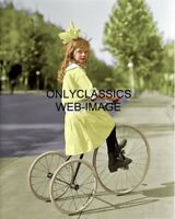 1915 CUTE VICTORIAN GIRL RIBBON IN HAIR COLORIZED PHOTO VINTAGE TRICYCLE BICYCLE
