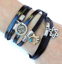 Wrap Round Leather Kabbalah Bracelet Silver 925 Hamsa Star of David Israel Charm
