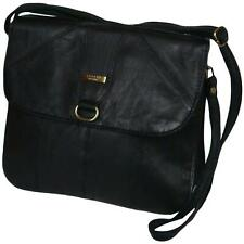 Ladies Real Leather Cross Body Bag Black Shoulder Bag