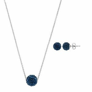 """Finecraft 'Ball Pendant & Earring Set with Crystals' in Bronze, 18"""""""