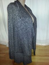 suzannegrae black silver cardi cardigan jumper jacket L 16 long Ribbed details