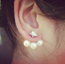Golden Korean Crystal Stylish Star Pearl Simulated Stud Earrings Gift Box P15