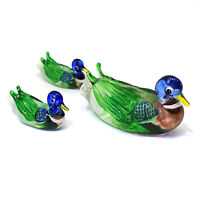 Hand Blown Glass Duck Figurines Family Ornament Garden Decoration Set of 3