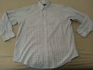 Mens Brooks Brothers Plaid Dress Shirt XL Blue Orange Button Cotton