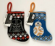 Star Wars Mini Knit Christmas Stockings Darth Vader Bb-8 Holiday Print New