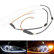 2x 30cm LED Light Strips Tube Switchback White/Amber Flexible DRL Turn Signal