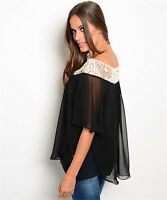 Boho Hippie Black Chiffon White Crochet Peasant Flowy Flutter Sleeve Top Blouse