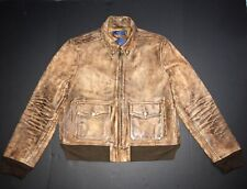 New $998 Ralph Lauren Women Caw Leather rrl Aviator Bomber Jacket Coat  Large L