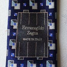 RECENT MINT Ermenegildo Zegna Navy Silver  Silk Tie Made in Italy Italian