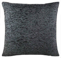 "Plain Chenille Charcoal Cushion Covers 18""x 18"" Double Sided Lovely Quality Item"