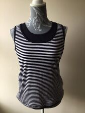 First Avenue Womens Tank Top Size M (10-12) Navy Blue White Striped Sleeveless