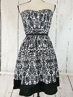 Trixxi Women's Tube Dress Size 11 Strapless Black White Floral A-Lined
