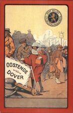 Steamship Poster Art Oostende Dover Etat Belge Ch. De Fer & Paquebots Postal