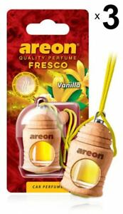 3 x Areon Fresco Vanilla Car Aroma Perfume Air Freshener Fragrance Scent Tree