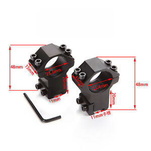 2pcs High Profile Rifle Scope Ring fits 25.4mm Tube and 11mm Dovetail Base Black