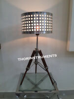 Nautical Wooden Chrome Tripod Table Lamp Stand Vintage  Floor Shade Lamp