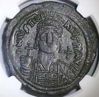 541 NGC Ch XF Justinian I Byzantine Empire Follis Pedigree (18121701C)