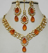 Designer Indian Gold Plated Stone Kundans Necklace Party Jewelry Set-A1Q