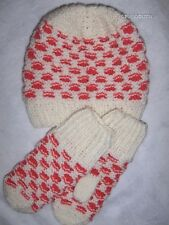 Girls 100% Wool Hat and Mitten Set Medium / Large