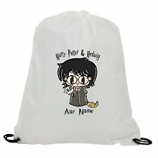 PERSONALISED HARRY POTTER & HEDWIG SUBLIMATION GYM SWIMMING PE DRAWSTRING BAG