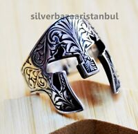 Turkish Spartan Helmet Knight 925 sterling silver no stone mens ring us ALL SİZE