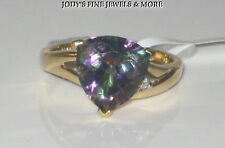 EXQUISITE ESTATE 14K YELLOW GOLD TRILLION MYSTIC TOPAZ & DIAMOND RING Size 6.75