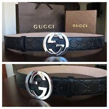 New w/ Tags Authentic Black Guccissima Gucci Belt 95 cm fits 30-34 waist