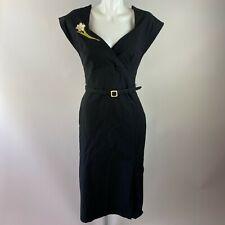 Stop Staring Milan Embroidered Wiggle Black Dress Large Cap Sleeve Floral Belt