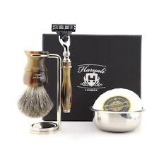 Barber Shaving Super Badger Hair Brush & 3 Blades Razor with Stand + Bowl Soap