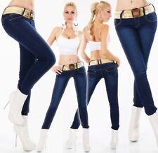 Damen Slim Fit Stretch Skinny Röhren Hüft Jeans 34 36 38 40 42 dark blue