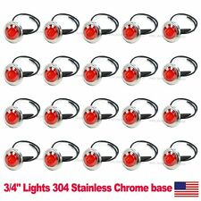 "20X Mini 12V DC Red 3/4"" Round Side 3 LED Marker Trailer Bullet Chrome Light US"