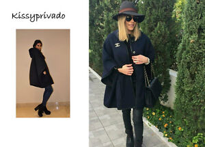 ZARA Navy Blue Hooded Wool Cape Coat with Large Pockets M BNWT REF: 8246 152