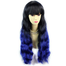 Wiwigs Wonderful Long Wavy Black Brown & Blue Dip-Dye Ombre Ladies Wig
