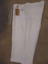NWT - Democracy white capri Drawstring Pants - sz 24 - MSRP $68.00- Linen Blend